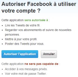 facebook twitter autorisation 300x295 Réseaux sociaux : Comment diffuser sur Twitter vos posts Facebook